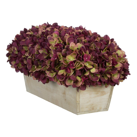 Artificial Hydrangea in White-Washed Wood Ledge - House of Silk Flowers®  - 16
