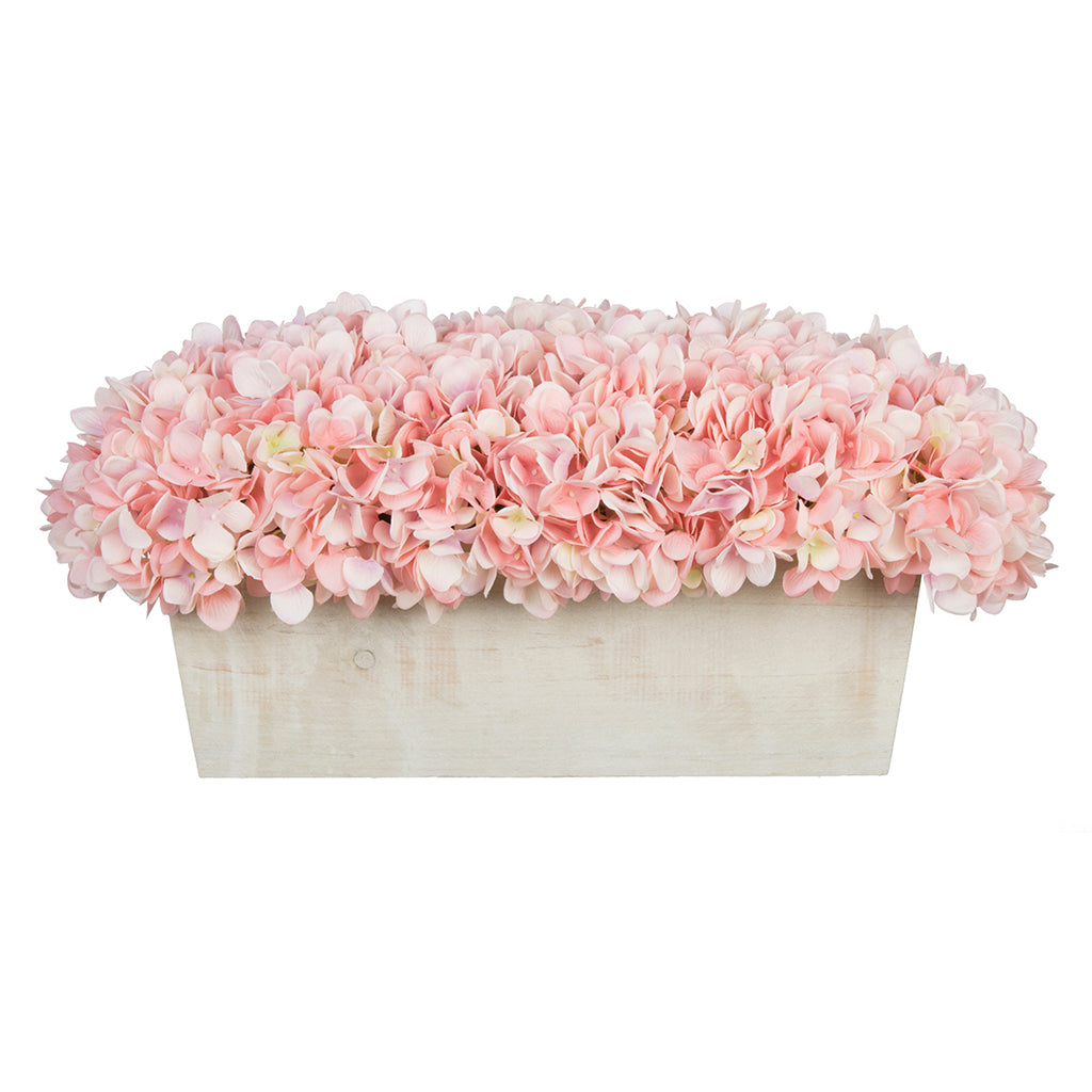 Artificial Hydrangea in White-Washed Wood Ledge - House of Silk Flowers®  - 1