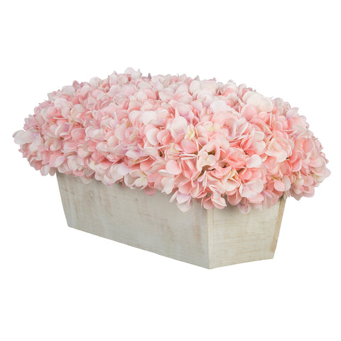 Artificial Hydrangea in White-Washed Wood Ledge - House of Silk Flowers®  - 2