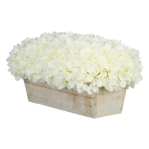 Artificial Hydrangea in White-Washed Wood Ledge - House of Silk Flowers®  - 22