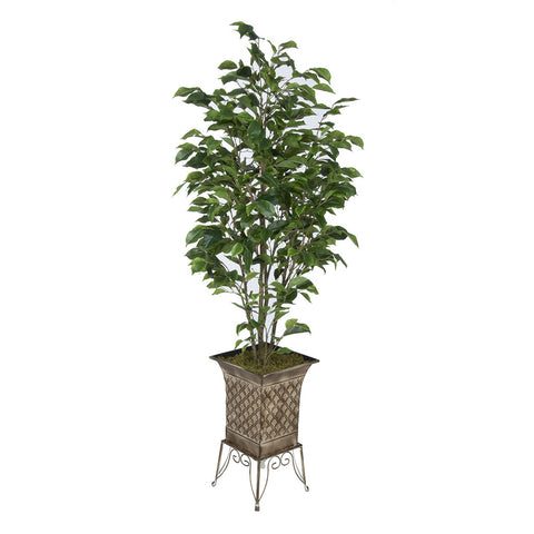 Artificial Green Ficus in Small Planter Stand