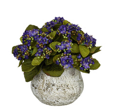 Artificial Kalanchoe in Distressed Cement Vase - House of Silk Flowers®  - 6