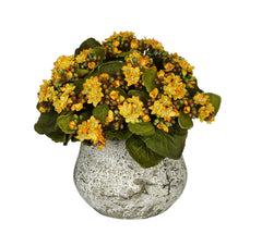 Artificial Kalanchoe in Distressed Cement Vase - House of Silk Flowers®  - 7