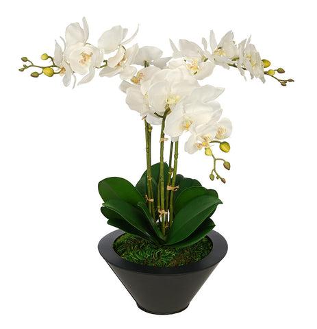 Artificial Triple Stem Orchid in Round Zinc Vase