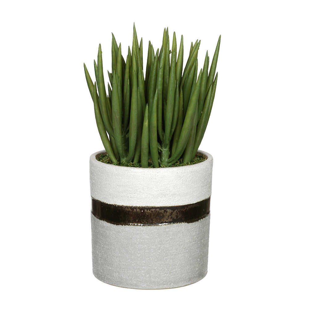 Artificial Sea Aloe in Sanded White/Bronze/Grey Ceramic House of Silk Flowers®