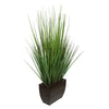 27-inch Grass in Small Gloss Brown Rectangle Zinc House of Silk Flowers®
