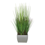 27-inch Grass in Small Silver Rectangle Zinc House of Silk Flowers®
