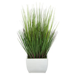 28-inch Grass in Medium Cream Rectangle Zinc House of Silk Flowers®