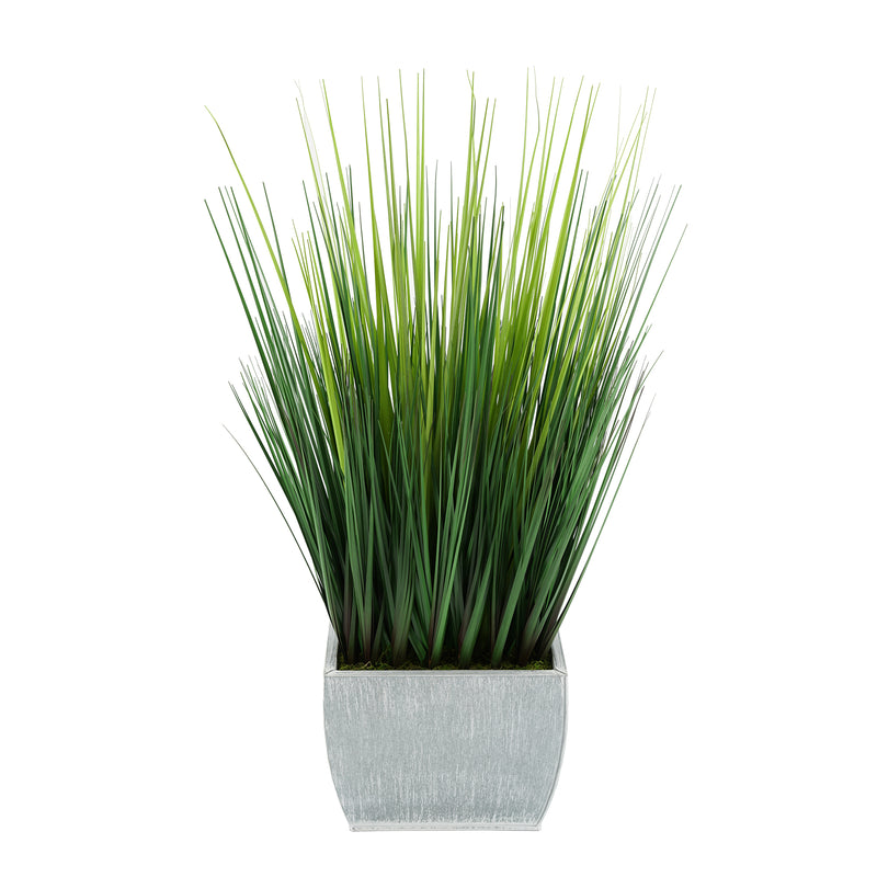 28-inch Grass in Medium Farmhouse Rectangle Zinc House of Silk Flowers®