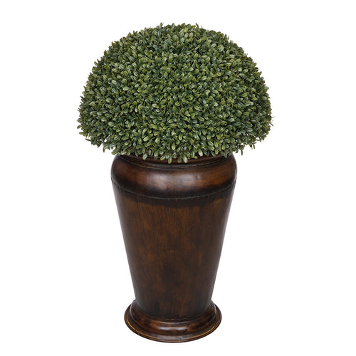 Boxwood Half Ball Topiary in Designer Metal Planter House of Silk Flowers®