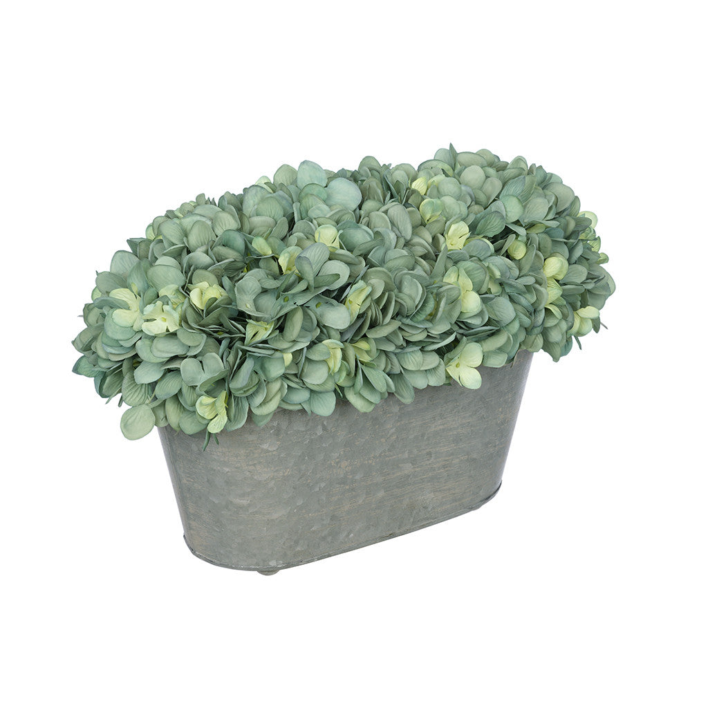 Artificial Teal Hydrangea in Galvanized Metal Oval House of Silk Flowers®