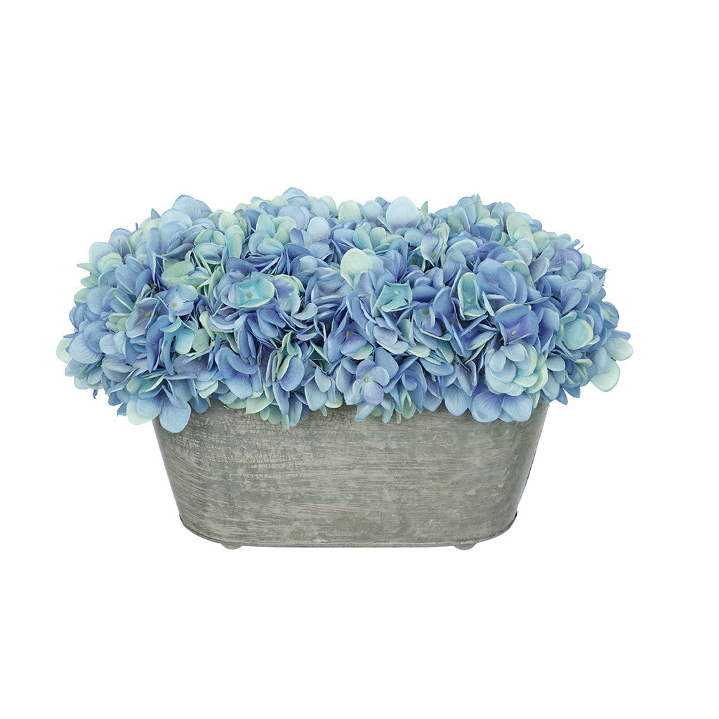 Artificial Blue Hydrangea in Galvanized Metal Oval House of Silk Flowers®