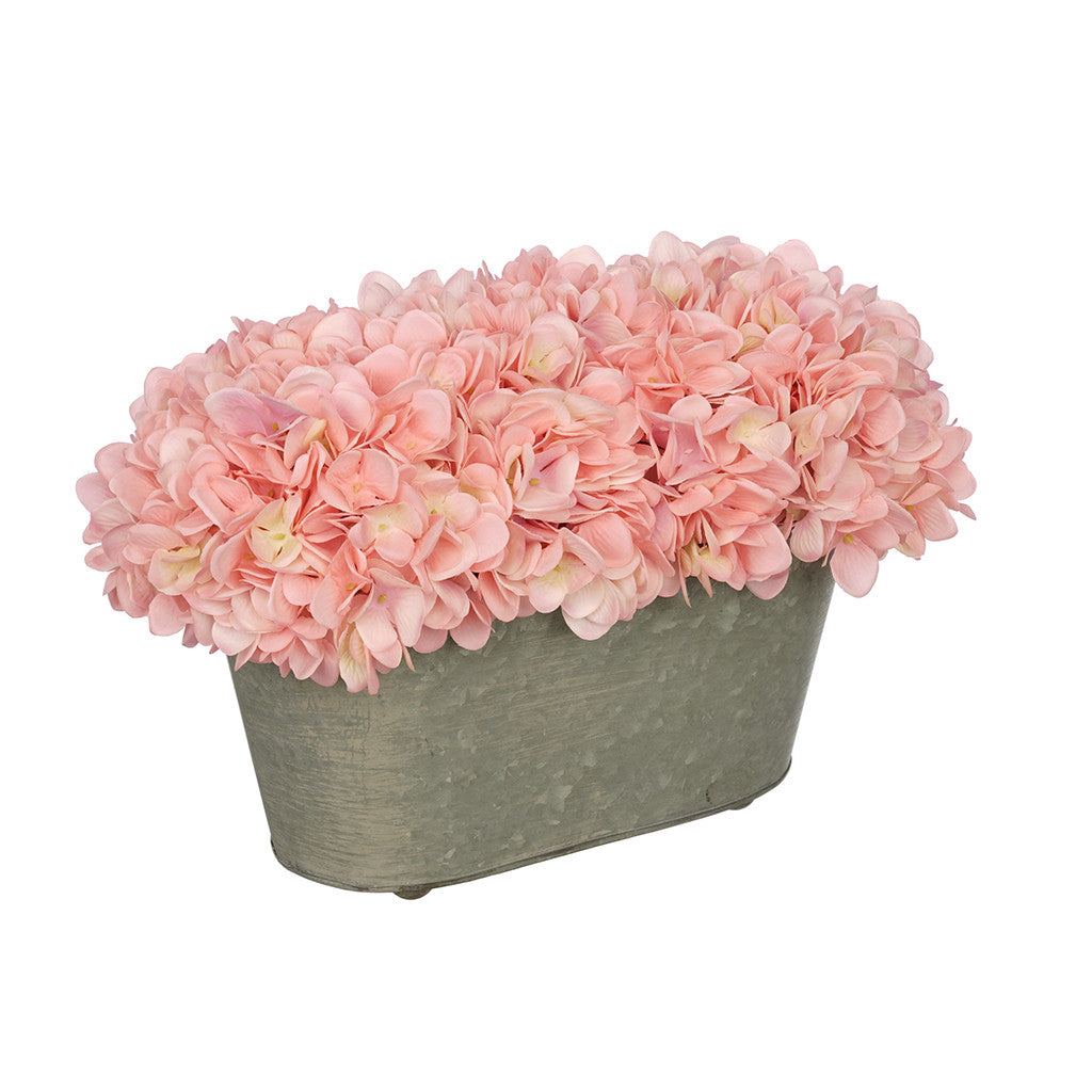 Artificial Pink Hydrangea in Galvanized Metal Oval House of Silk Flowers®