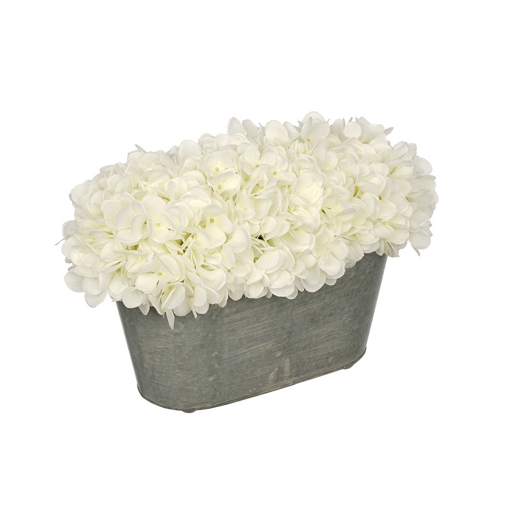 Artificial White Hydrangea in Galvanized Metal Oval House of Silk Flowers®