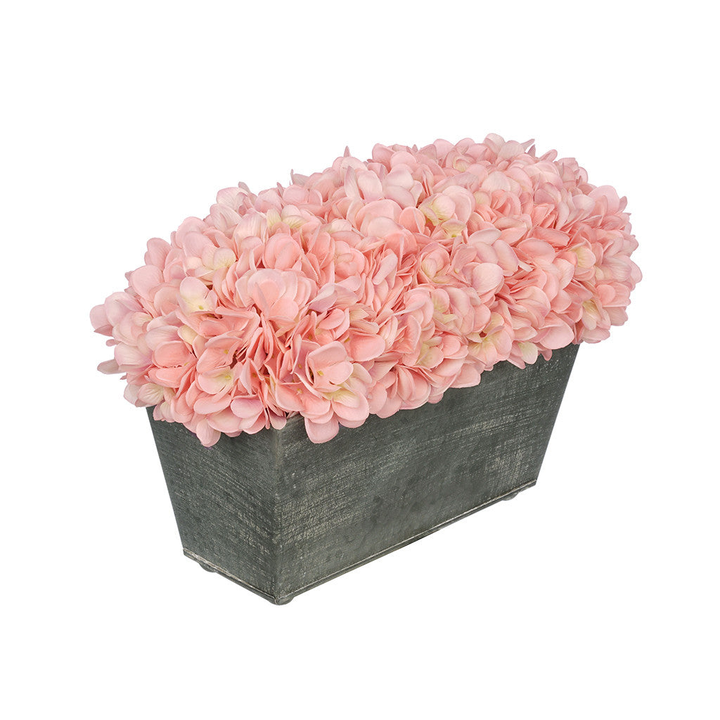 Artificial Hydrangea In Galvanized Metal Rectangle House