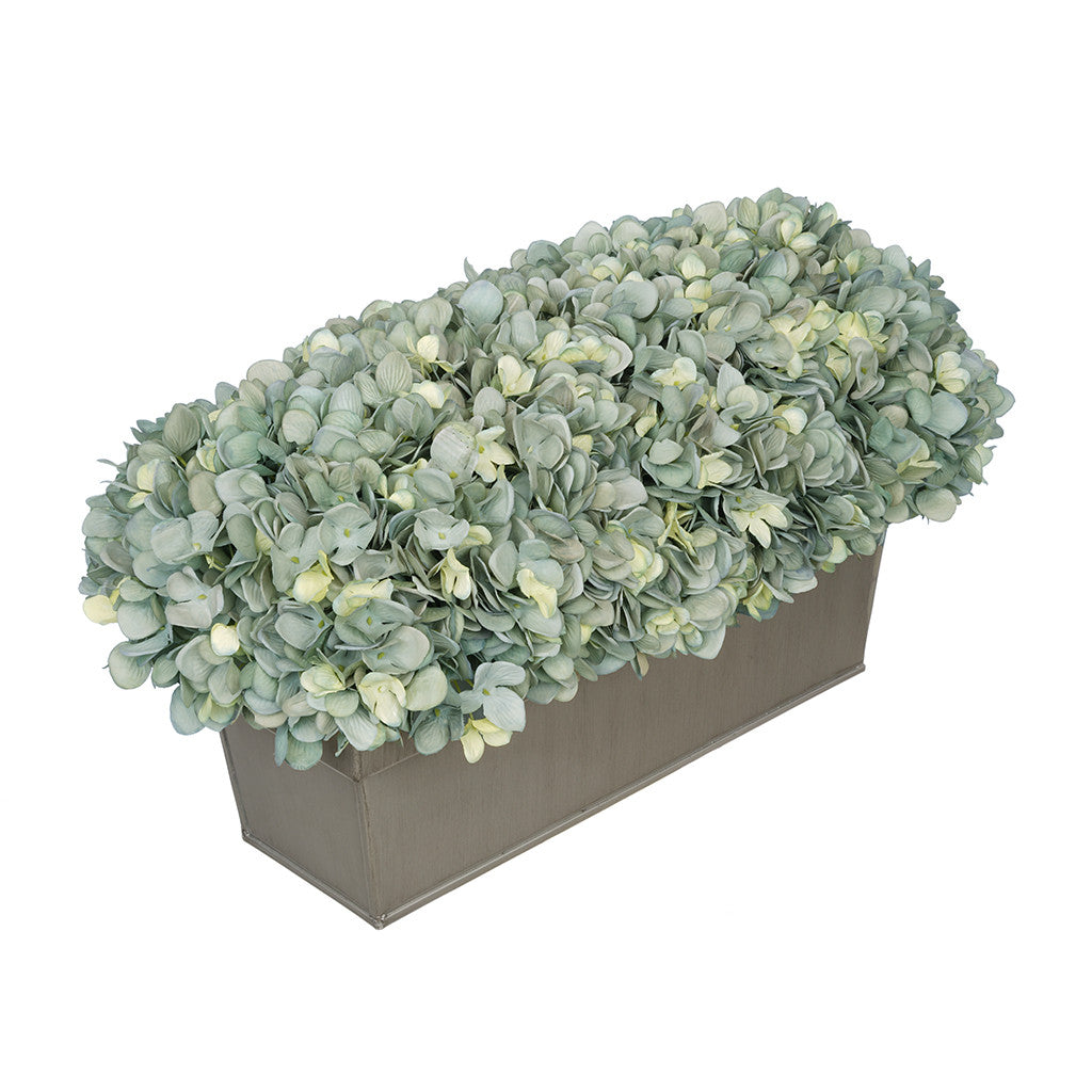 Artificial Teal Hydrangea in Gloss Silver Zinc Rectangle House of Silk Flowers®