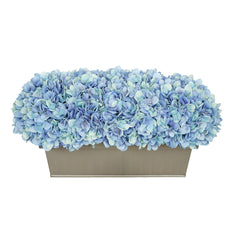 Artificial Blue Hydrangea in Gloss Silver Zinc Rectangle House of Silk Flowers®