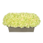Artificial Green Hydrangea in Gloss Silver Zinc Rectangle House of Silk Flowers®