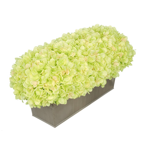Artificial Hydrangea in Gloss Silver Zinc Rectangle