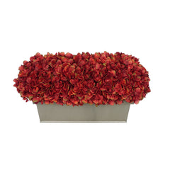 Artificial Burgundy Hydrangea in Gloss Silver Zinc Rectangle House of Silk Flowers®