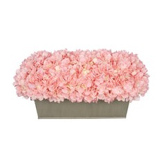 Artificial Pink Hydrangea in Gloss Silver Zinc Rectangle House of Silk Flowers®