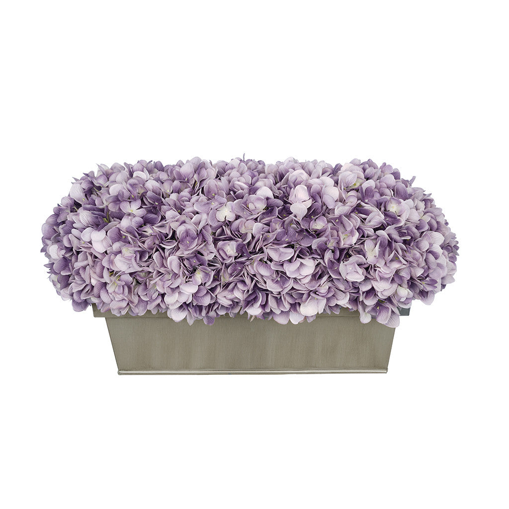 Artificial Lavender Hydrangea in Gloss Silver Zinc Rectangle House of Silk Flowers®