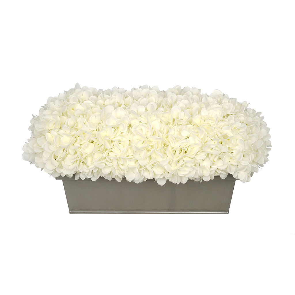Artificial White Hydrangea in Gloss Silver Zinc Rectangle House of Silk Flowers®