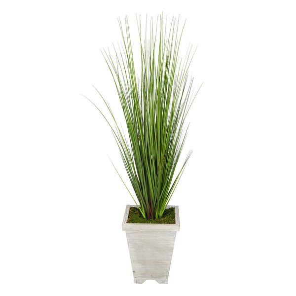 Artificial 4ft PVC Grass in Washed Wood Planter