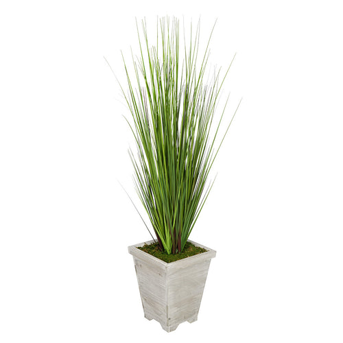 4-foot PVC Grass in Washed Wood Planter House of Silk Flowers®