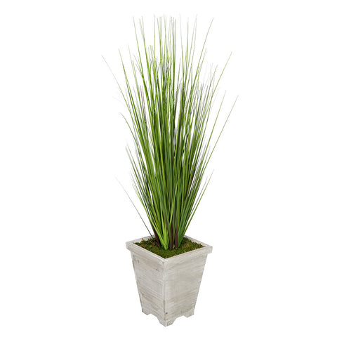 Artificial 4-foot PVC Grass in Washed Wood Planter