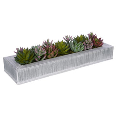 Artificial Pastel Succulent Garden in Farmhouse Zinc Vase House of Silk Flowers®