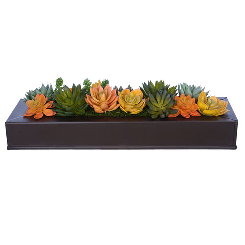 Artificial Orange/Yellow Succulents in Matte Brown Zinc Vase