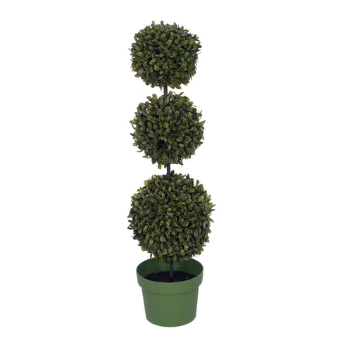Artificial 25-inch Triple Ball Boxwood Topiary