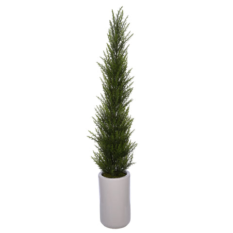 Artificial 38-Inch Cedar Pencil Topiary in White Cylinder Ceramic Pot