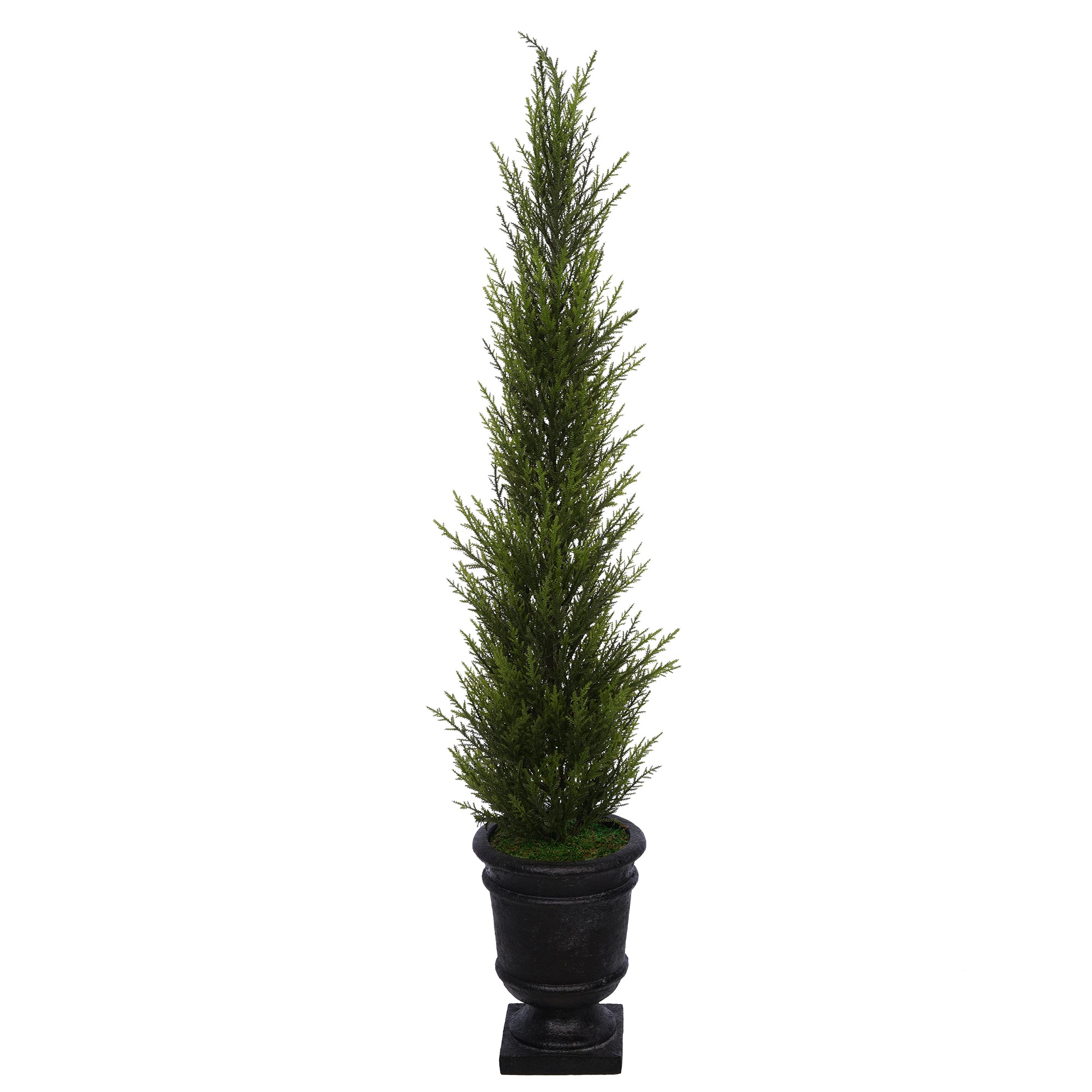 Artificial 37-Inch Cedar Pencil Topiary in Black Urn