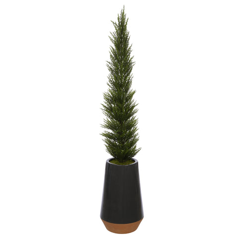 Artificial 54-Inch Cedar Pencil Topiary in Dark Grey Ceramic Pot