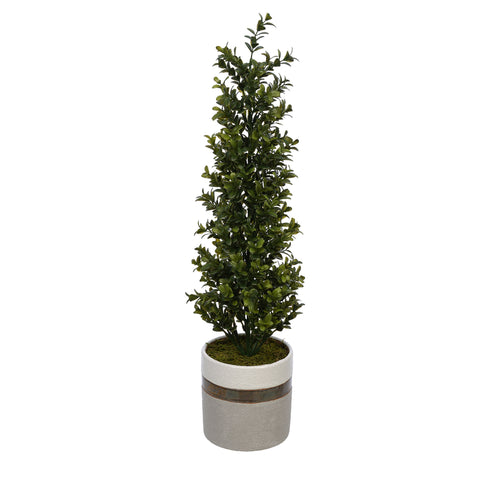22-inch Boxwood Pencil Topiary in Small White/Gold/Grey Ceramic Pot House of Silk Flowers®