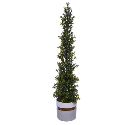 Artificial 34-inch Boxwood Pencil Topiary in Large White/Gold/Grey Ceramic Pot