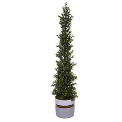 34-inch Boxwood Pencil Topiary in Large White/Gold/Grey Ceramic Pot House of Silk Flowers®