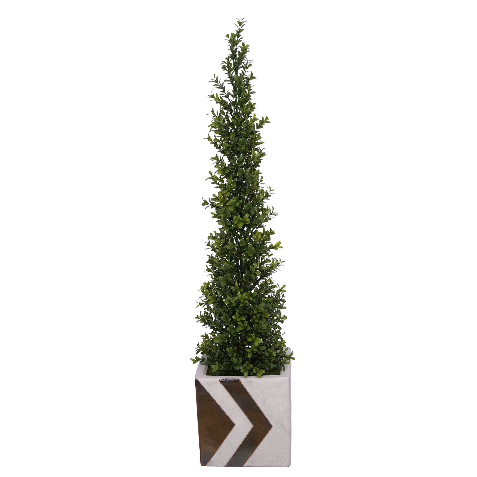 35-inch Boxwood Pencil Topiary in Large White/Gold Chevron Cube Ceramic House of Silk Flowers®