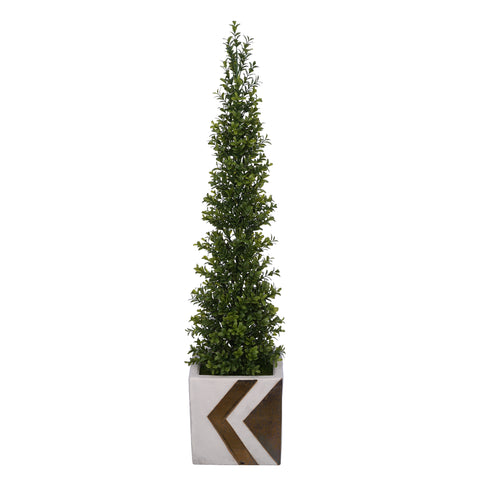 Artificial 35-inch Boxwood Pencil Topiary in Large White/Gold Chevron Cube Ceramic
