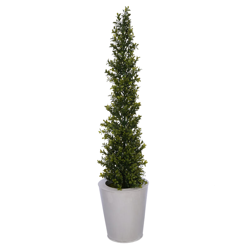 Artificial 36-inch Boxwood Pencil Topiary in Cream Zinc
