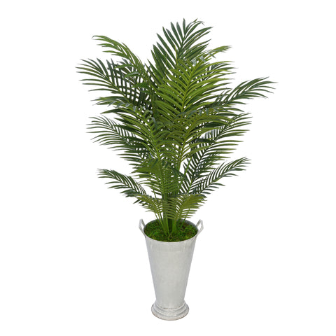 Artificial 4-1/2 foot Areca Palm in Galvanized Southern Farm Bucket