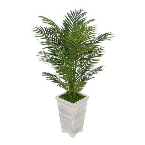 Artificial 4-1/2 foot Areca Palm in Tall Washed Wood Planter
