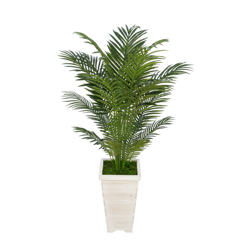 4-1/2 foot Areca Palm in Tall Washed Wood Planter House of Silk Flowers®