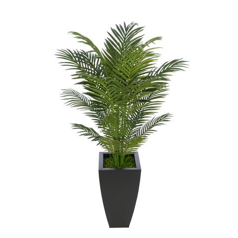 Artificial 4-1/2 foot Areca Palm in Tapered Square Zinc