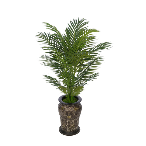 Artificial 4-1/2 foot Areca Palm in Hammered Metal Planter