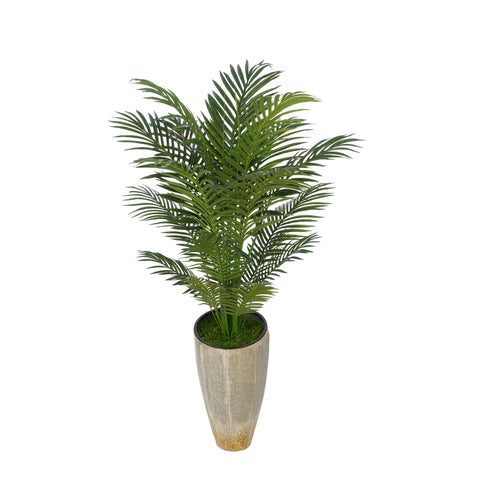 Artificial 4-1/2 foot Areca Palm in Industrial Metal Planter
