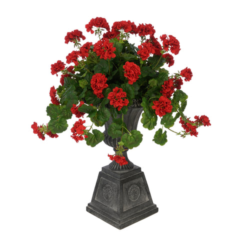Faux Geranium in Black Footed Tuscan Urn Planter