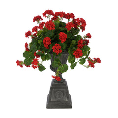 Faux Geranium in Black Footed Tuscan Urn Planter House of Silk Flowers®